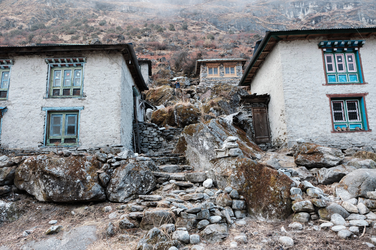 Old houses made of rock.