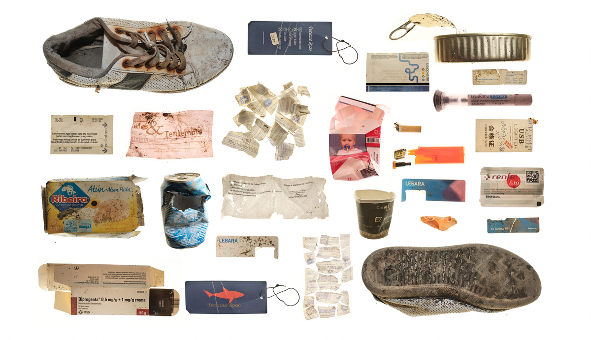 A collage of old, dirty and broken objects.