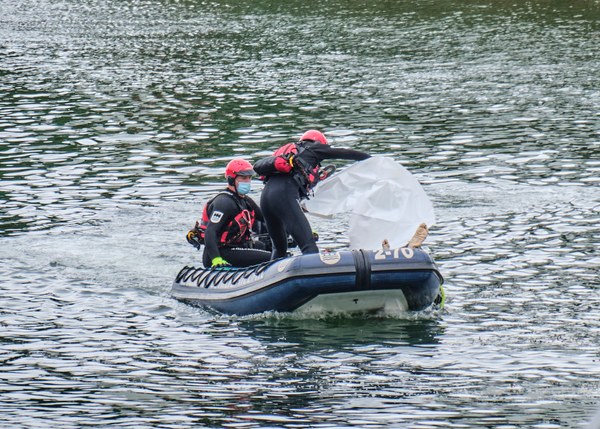 A body been rescue in a river by the emergency services.